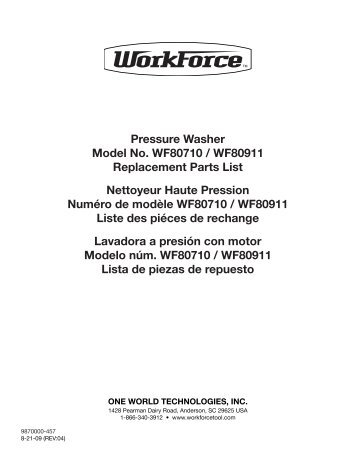 Pressure Washer Model No. WF80710 / WF80911 Replacement ...