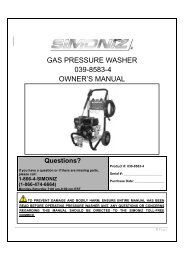 gas pressure washer 039-8583-4 owner's manual - Simoniz
