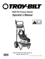 Operator's Manual - Briggs & Stratton Power Products WebTools