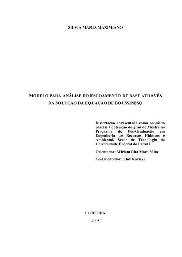 Modelo para Análise do Escoamento de Base através da Solução ...