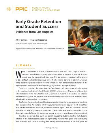 grade retention Grade retention in us schools has a long history characterized by fluctuations in  the frequency  promoted peers) resulted in less negative effects for retention.