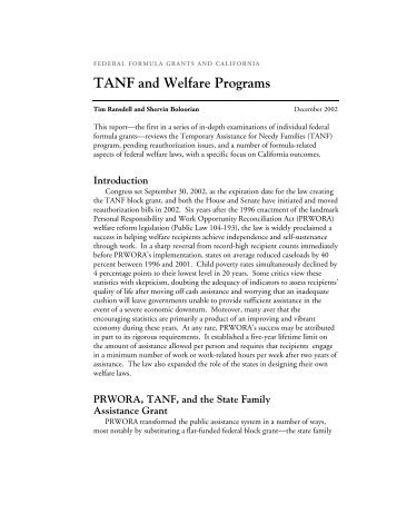 TANF and Welfare Programs - Public Policy Institute of California