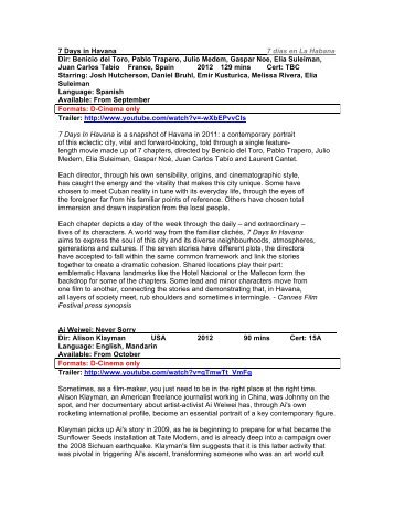35mm and DCP List Autumn 2012  - Access Cinema