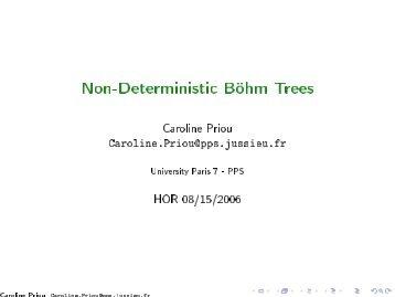 @let@token Non-Deterministic Böhm Trees - PPS