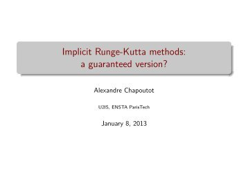 Implicit Runge-Kutta methods: a guaranteed version? - PPS