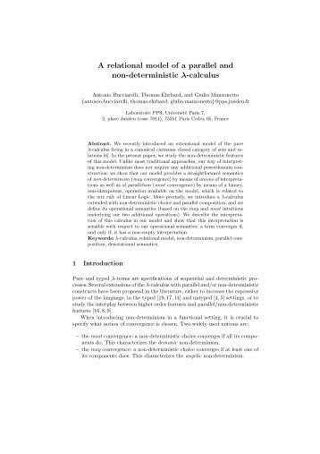 A relational model of a parallel and non-deterministic λ-calculus - PPS
