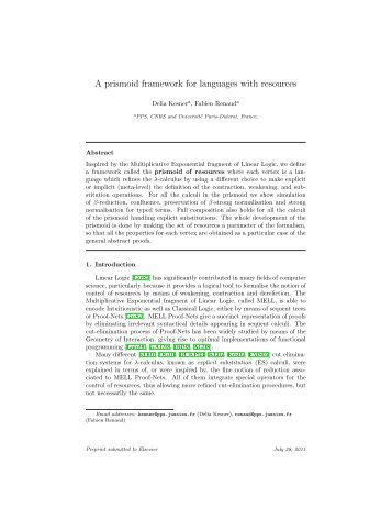 A prismoid framework for languages with resources - PPS