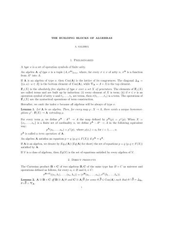 1. Preliminaries A type ν is a set of operation symbols of finite ... - PPS