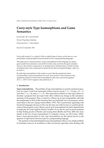 Curry-style Type Isomorphisms and Game Semantics - PPS
