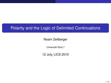 Polarity and the Logic of Delimited Continuations - PPS