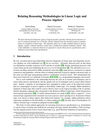 Relating Reasoning Methodologies in Linear Logic and Process ...