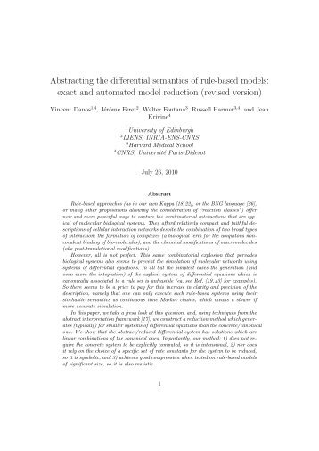 Abstracting the differential semantics of rule-based models ... - PPS