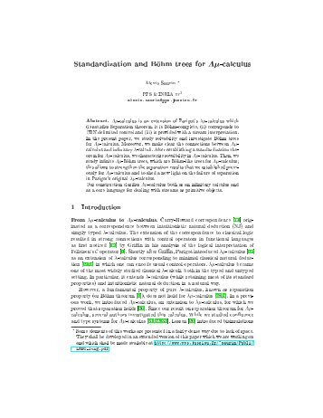 Standardization and Böhm trees for Λĩ-calculus - PPS