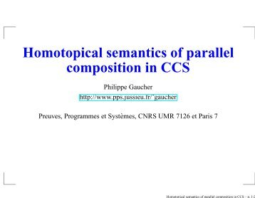 Homotopical semantics of parallel composition in CCS - PPS