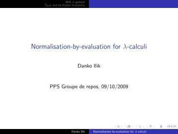 Normalisation-by-evaluation for λ-calculi - PPS