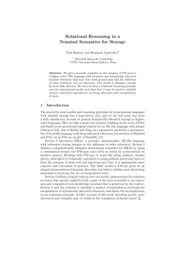 Relational Reasoning in a Nominal Semantics for Storage