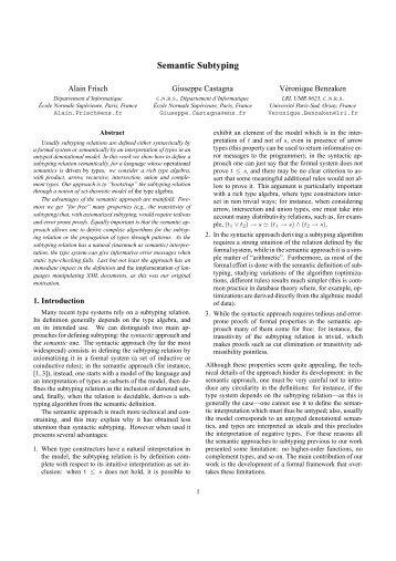 Semantic Subtyping - CiteSeerX