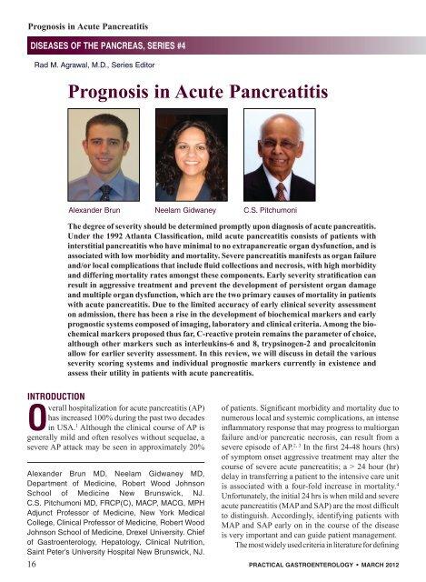 Prognosis in Acute Pancreatitis - Practical Gastroenterology