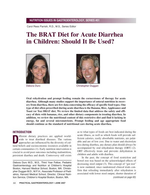 The BRAT Diet for Acute Diarrhea in Children: Should It Be Used?