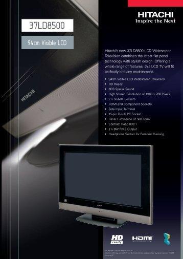 37LD8500 - Hitachi Digital Media