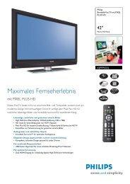 42PFP5332/10 Philips Breitbild-Flat TV mit PIXEL PLUS HD - Prad
