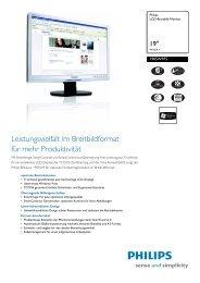 190SW9FS/00 Philips LCD-Breitbild-Monitor - Prad