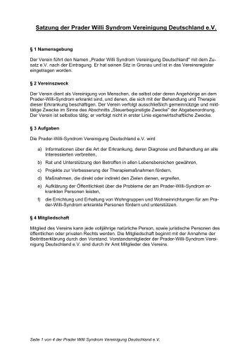 Satzung der Prader Willi Syndrom Vereinigung Deutschland e.V.