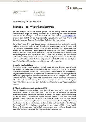 PT Pressemitteilung 12110813.December 2008(48 Kb - Prättigau