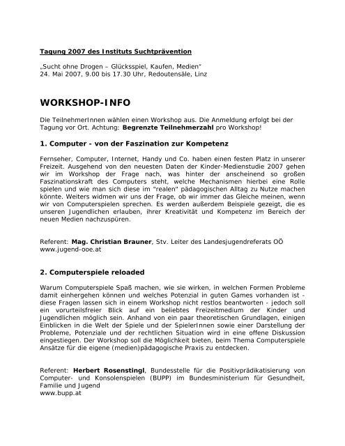 WS-Infos [19 kB] - Institut Suchtprävention