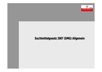 Suchtmittelgesetz 2007 (SMG) Allgemein