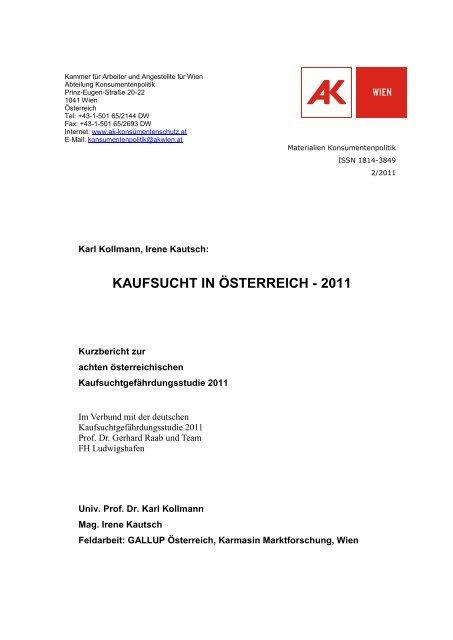 KAUFSUCHT IN ÖSTERREICH - 2011