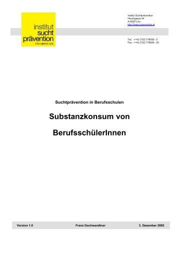 Substanzkonsum von BerufsschülerInnen - Institut Suchtprävention