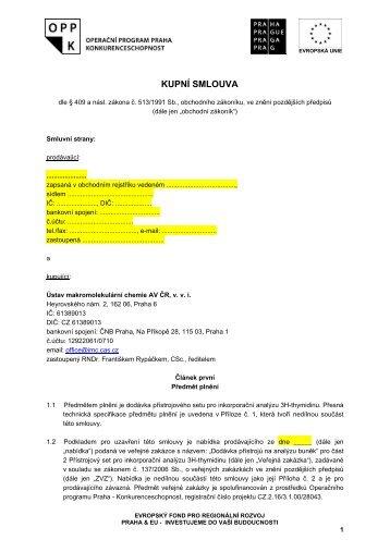 VÝZVA K PODÁNÍ NABÍDKY - Fondy EU v Praze