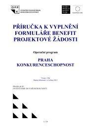 příručka k vyplnění formuláře benefit projektové ... - Fondy EU v Praze