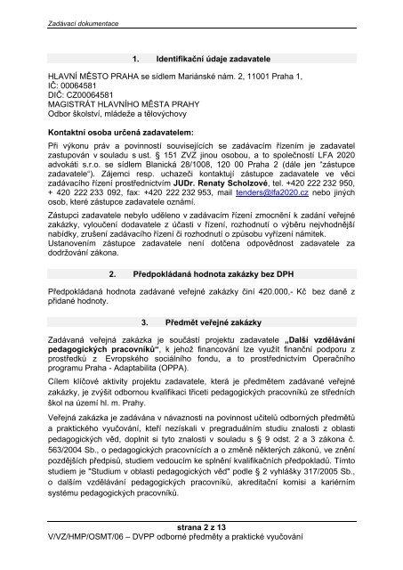 Zadávací dokumentace - Fondy EU v Praze