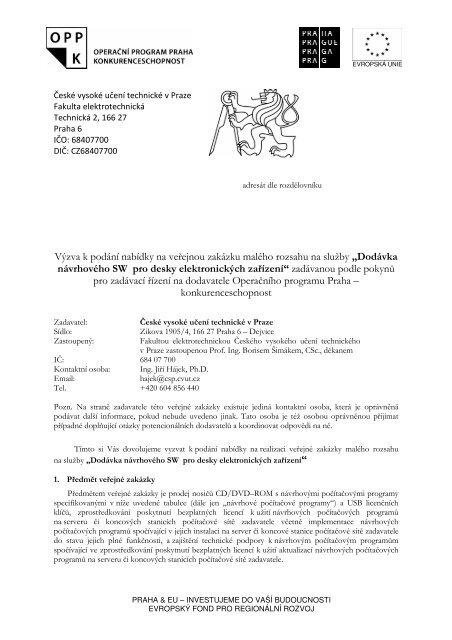 Výzva k podání nabídky na veřejnou zakázku ... - Fondy EU v Praze
