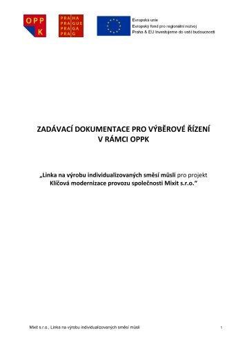 Linka na výrobu individualizovaných směsí müsli - Fondy EU v Praze
