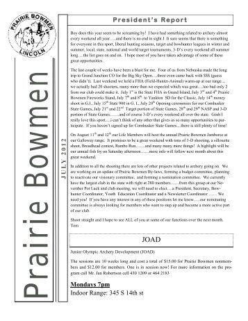 July 2012 Newsletter - Prairie Bowmen Archery Club