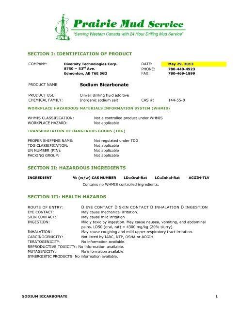Sodium Bicarbonate 22 72 Kg - Prairie Mud Service