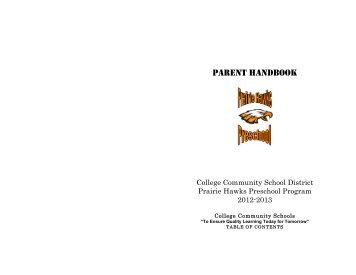Preschool Parent Handbook - College Community School District