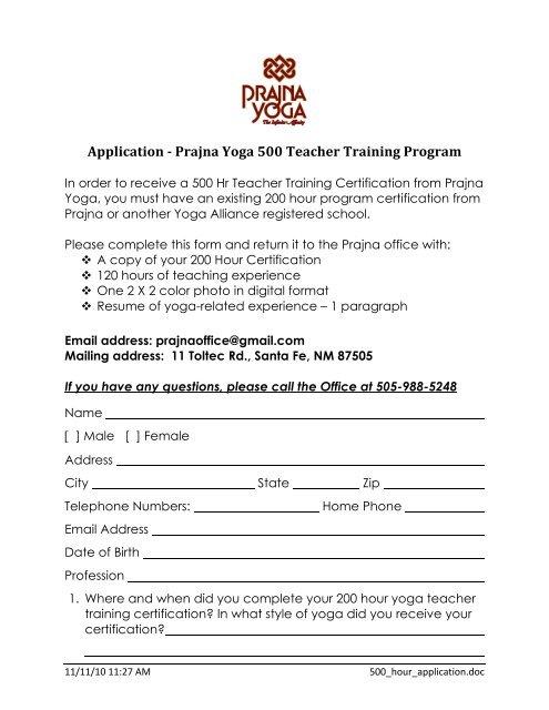 Download 500 Hour Application As A Pdf File Prajna Yoga