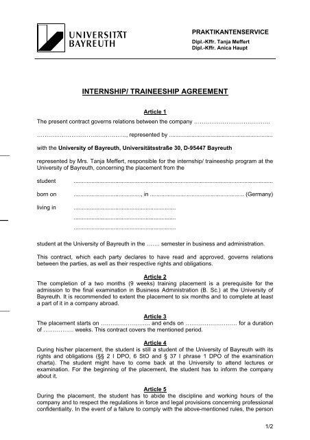 Internship Traineeship Agreement Praktikantenservice