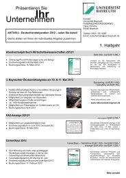 Unternehmen - Praktikantenservice - Universität Bayreuth