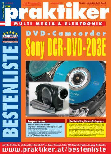 "Testbericht Sony DCR-DVD-203E aus ""ITM praktiker ... - Praktiker.at"