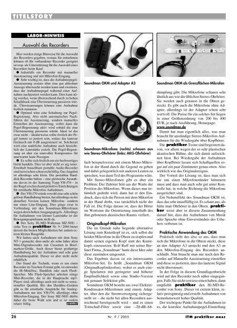 Soundman OKM II mit Adapter A3: Stereo-Mikrofon ... - Praktiker.at
