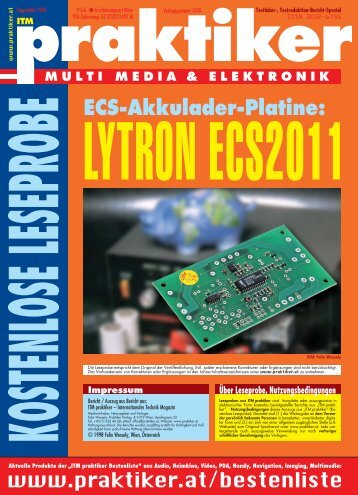 ECS-Akkulader-Platine Lytron ECS 2011 - ITM Mega ... - Praktiker.at