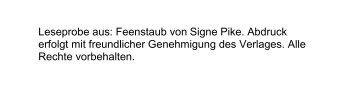 Leseprobe aus: Feenstaub von Signe Pike. Abdruck ... - PranaHaus