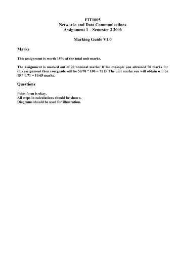 FIT1005 Networks and Data Communications Assignment 1 ...