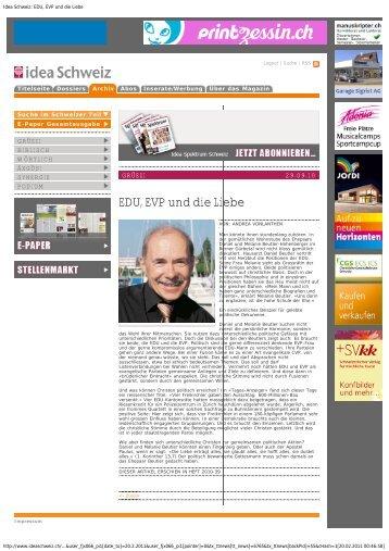 Idea Schweiz: EDU, EVP und die Liebe - Daniel Beutler