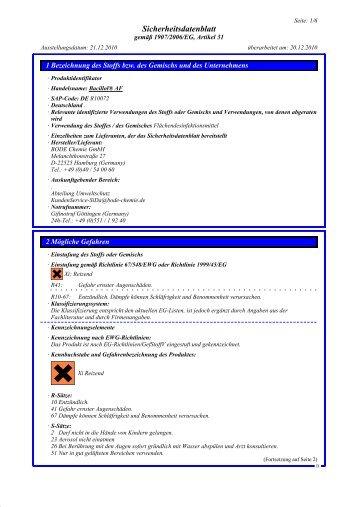 Bacillol® AF Sicherheitsdatenblatt - Praxisdienst